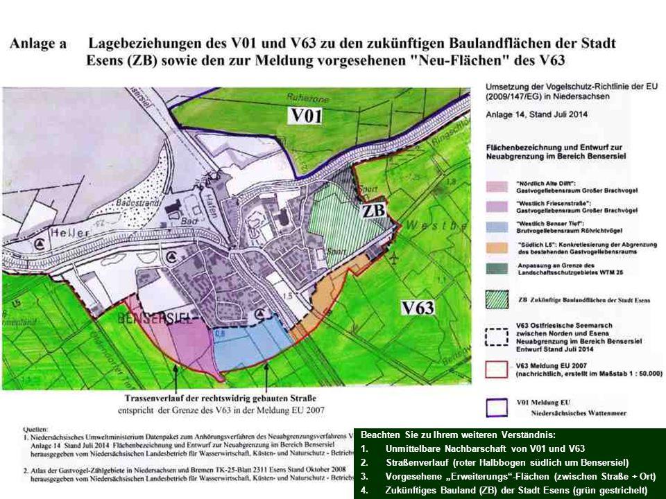 Beachten Sie zu Ihrem weiteren Verständnis: 1.Unmittelbare Nachbarschaft von V01 und V63 2.Straßenverlauf (roter Halbbogen südlich um Bensersiel) 3.Vo