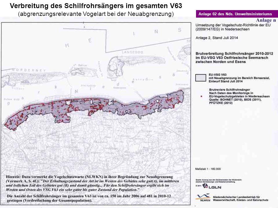 Verbreitung des Schilfrohrsängers im gesamten V63 (abgrenzungsrelevante Vogelart bei der Neuabgrenzung) Anlage 02 des Nds. Umweltministeriums