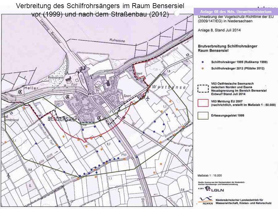 Verbreitung des Schilfrohrsängers im Raum Bensersiel vor (1999) und nach dem Straßenbau (2012) Anlage 08 des Nds. Umweltministerium
