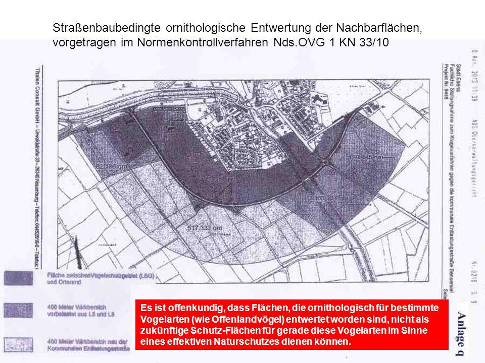 Straßenbaubedingte ornithologische Entwertung der Nachbarflächen, vorgetragen im Normenkontrollverfahren Nds.OVG 1 KN 33/10 Es ist offenkundig, dass F