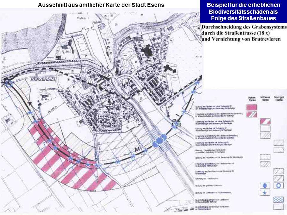 Ausschnitt aus amtlicher Karte der Stadt EsensBeispiel für die erheblichen Biodiversitätsschäden als Folge des Straßenbaues