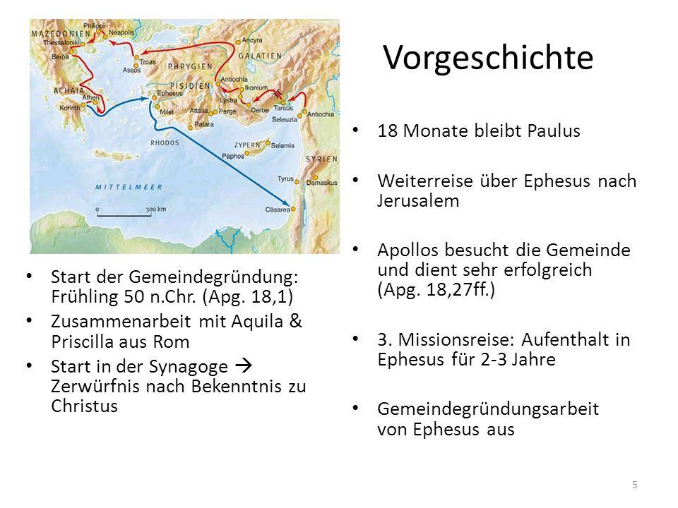 Vorgeschichte Start der Gemeindegründung: Frühling 50 n.Chr. (Apg. 18,1) Zusammenarbeit mit Aquila & Priscilla aus Rom Start in der Synagoge  Zerwürf