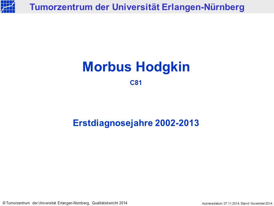 Morbus Hodgkin C81 Erstdiagnosejahre 2002-2013 Tumorzentrum der Universität Erlangen-Nürnberg © Tumorzentrum der Universität Erlangen-Nürnberg, Qualit