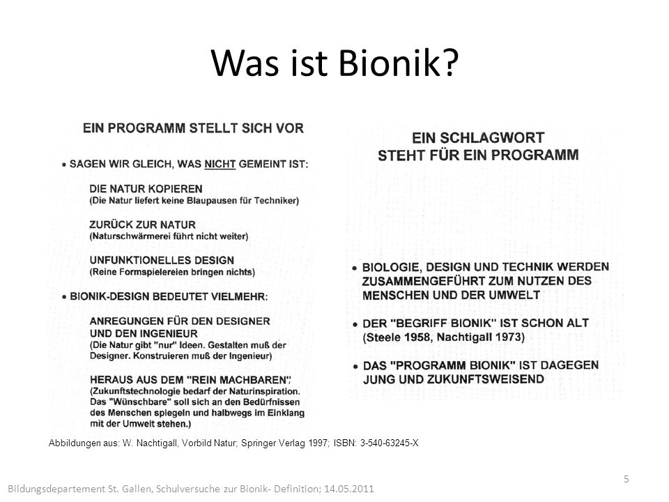 Was ist Bionik.5 Bildungsdepartement St.
