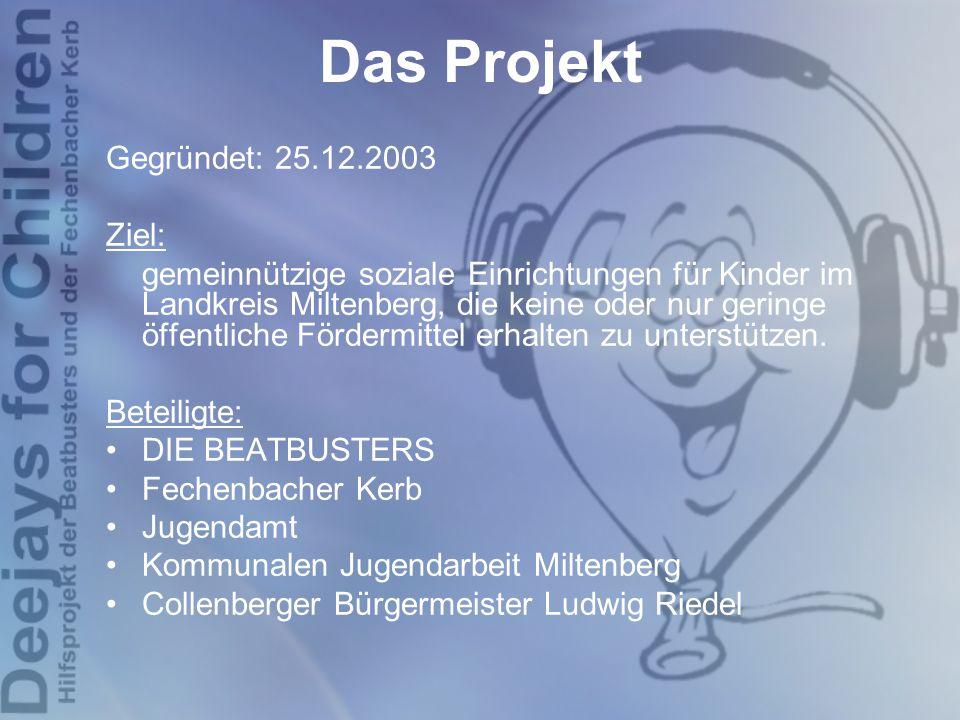 Das Projekt Gegründet: 25.12.2003 Ziel: gemeinnützige soziale Einrichtungen für Kinder im Landkreis Miltenberg, die keine oder nur geringe öffentliche