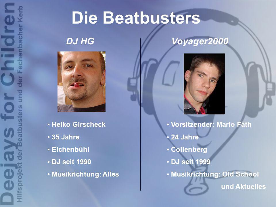 Die Beatbusters DJ HG Voyager2000 Vorsitzender: Mario Fäth 24 Jahre Collenberg DJ seit 1999 Musikrichtung: Old School und Aktuelles Heiko Girscheck 35