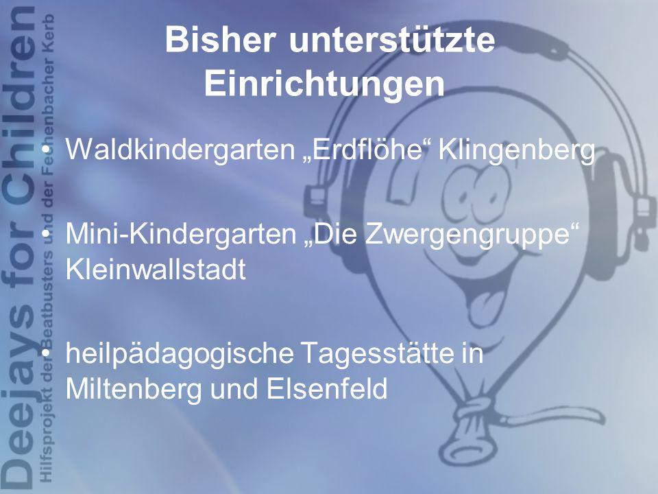 """Bisher unterstützte Einrichtungen Waldkindergarten """"Erdflöhe"""" Klingenberg Mini-Kindergarten """"Die Zwergengruppe"""" Kleinwallstadt heilpädagogische Tagess"""