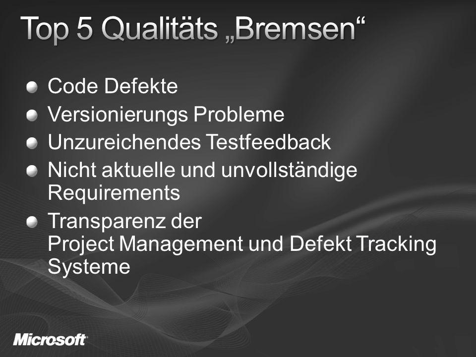 Code Defekte Versionierungs Probleme Unzureichendes Testfeedback Nicht aktuelle und unvollständige Requirements Transparenz der Project Management und Defekt Tracking Systeme