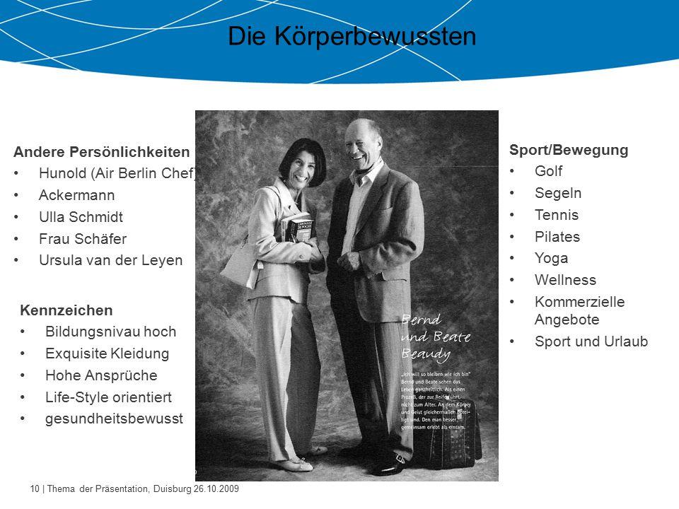 10 | Thema der Präsentation, Duisburg 26.10.2009 Die Körperbewussten Andere Persönlichkeiten Hunold (Air Berlin Chef) Ackermann Ulla Schmidt Frau Schä