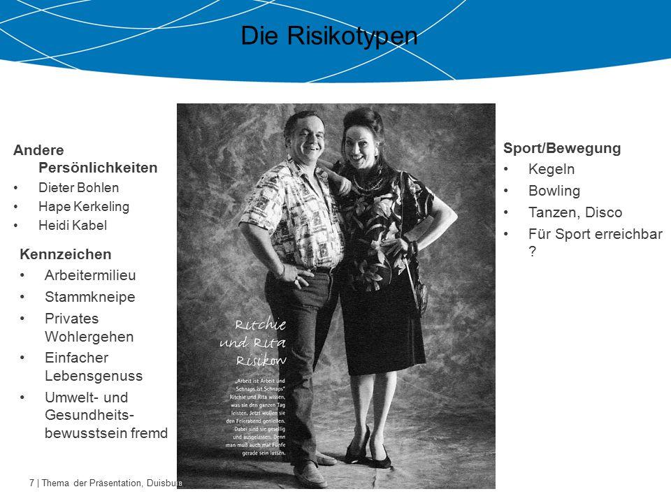 7 | Thema der Präsentation, Duisburg 26.10.2009 Die Risikotypen Andere Persönlichkeiten Dieter Bohlen Hape Kerkeling Heidi Kabel Sport/Bewegung Kegeln Bowling Tanzen, Disco Für Sport erreichbar .