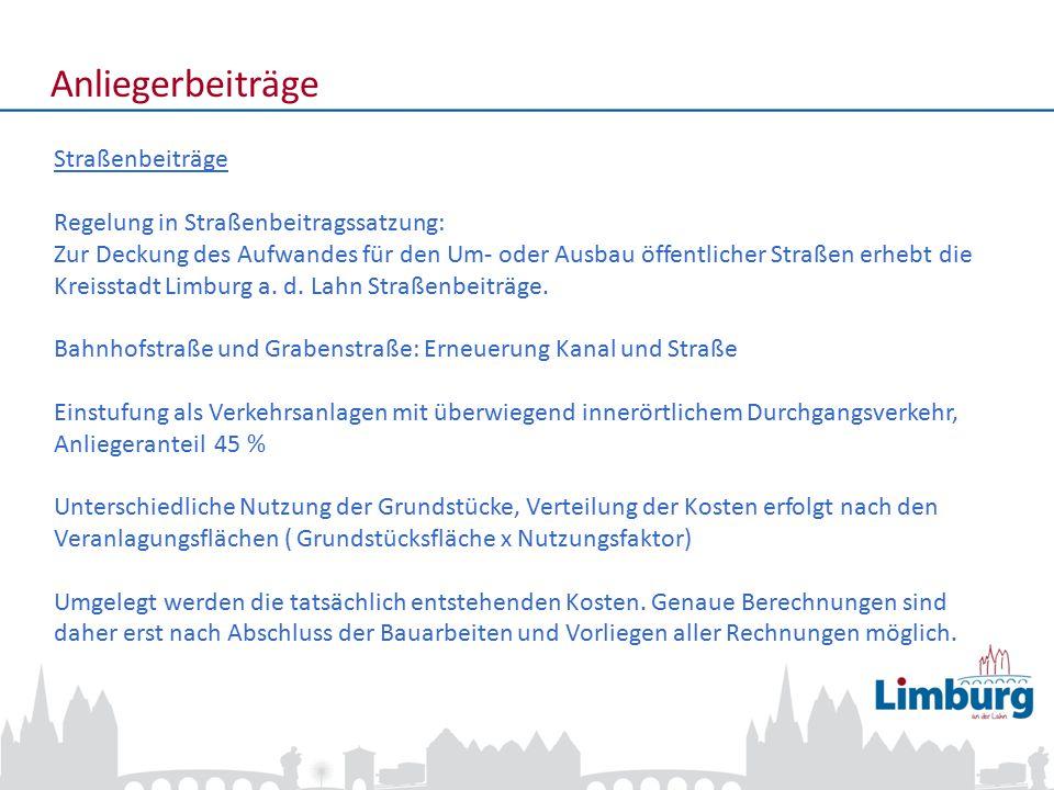 3 Anliegerbeiträge Straßenbeiträge Geschätzte Straßenbeiträge für Bahnhofstraße und Grabenstraße Durchschnittlich ca.