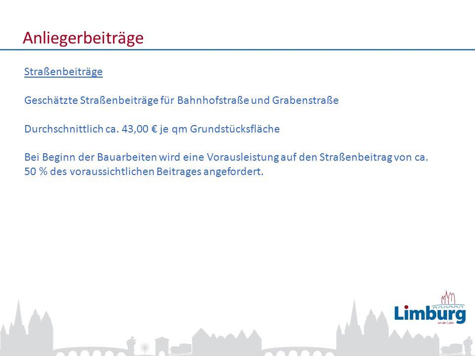 3 Anliegerbeiträge Straßenbeiträge Geschätzte Straßenbeiträge für Bahnhofstraße und Grabenstraße Durchschnittlich ca. 43,00 € je qm Grundstücksfläche