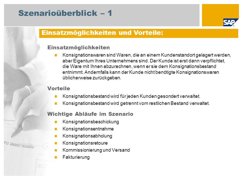 Szenarioüberblick – 2 Erforderlich Enhancement package 5 for SAP ERP 6.0 An den Abläufen beteiligte Benutzerrollen Lagerleiter Lagermitarbeiter Leiter Debitorenbuchhaltung Sachbearbeiter Vertrieb Sachbearbeiter Fakturierung Erforderliche SAP-Anwendungen:
