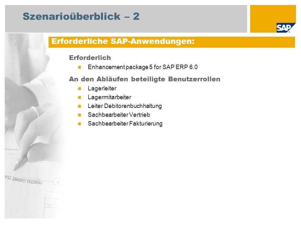 Szenarioüberblick – 2 Erforderlich Enhancement package 5 for SAP ERP 6.0 An den Abläufen beteiligte Benutzerrollen Lagerleiter Lagermitarbeiter Leiter