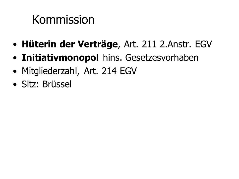 Gerichtshof der Europäischen Gemein- schaften (EUGH) Rechtliches Kontrollorgan Art.