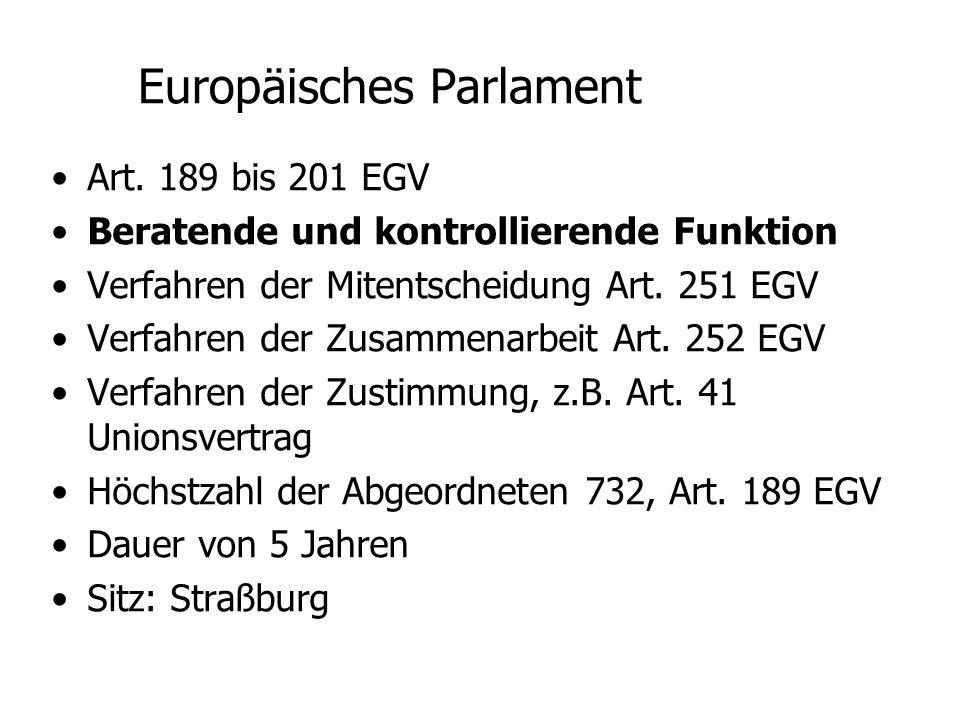 Rechnungshof Art. 247 EGV Aufgabe: Rechnungsprüfung Klagerecht aus Art. 232 EGV Sitz: Luxemburg
