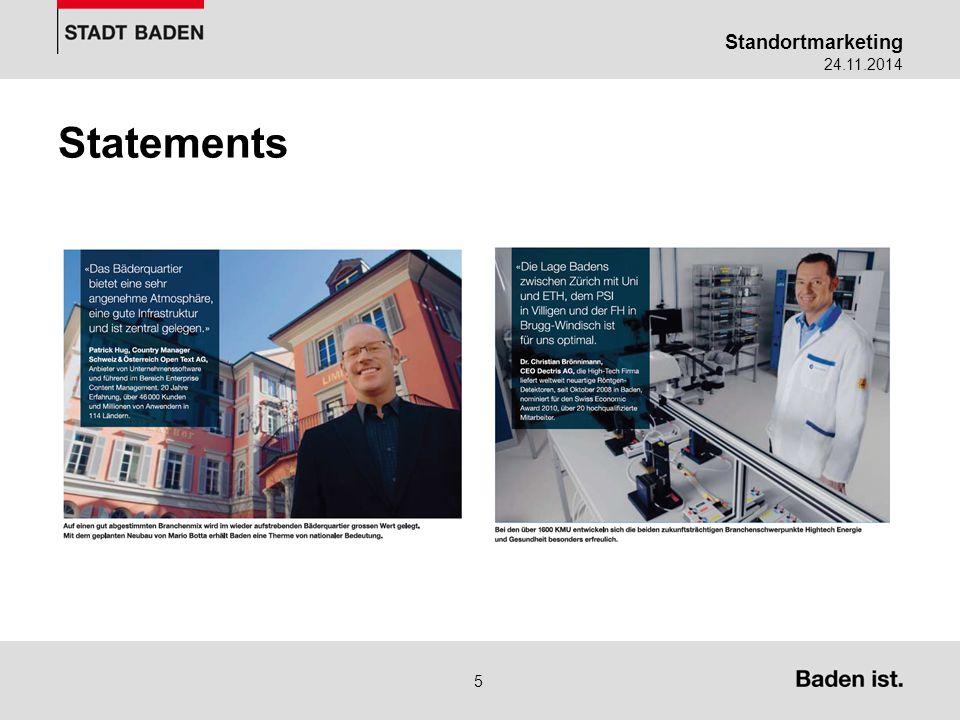 Standortmarketing 24.11.2014 6 Statements