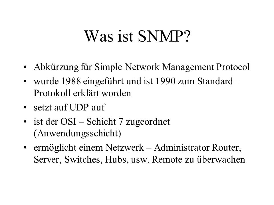 Was ist SNMP.