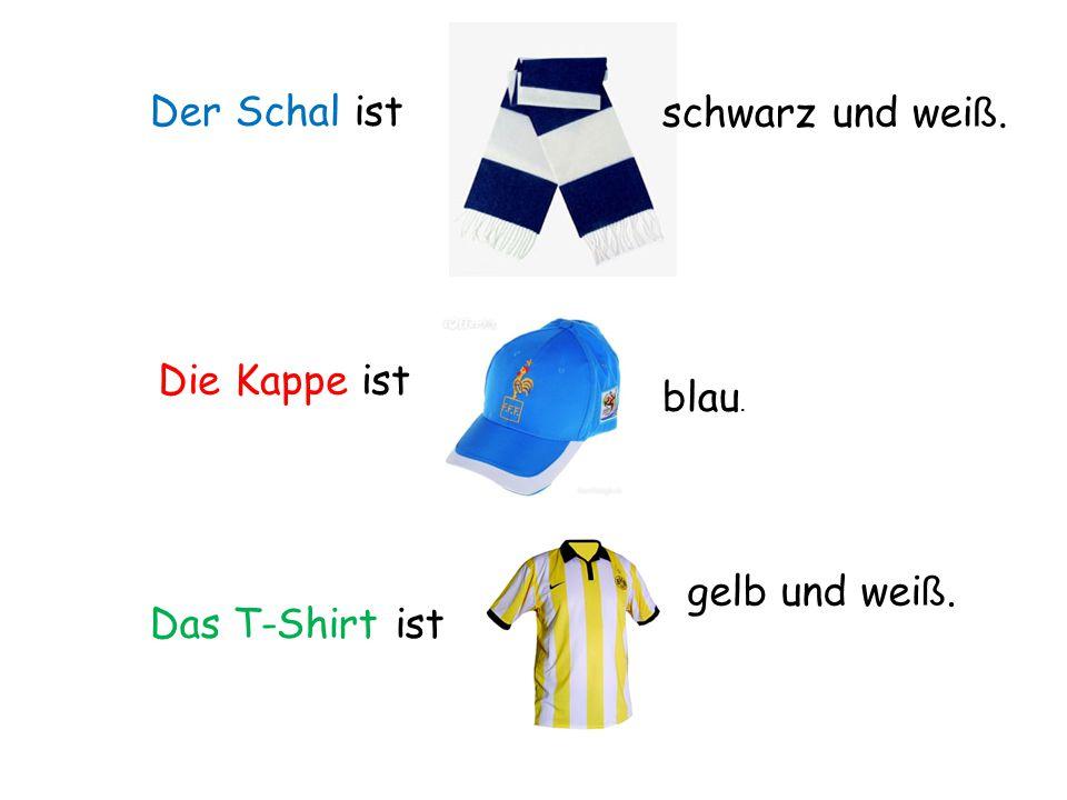 Der Schal ist Die Kappe ist Das T-Shirt ist schwarz und wei ß. blau. gelb und wei ß.