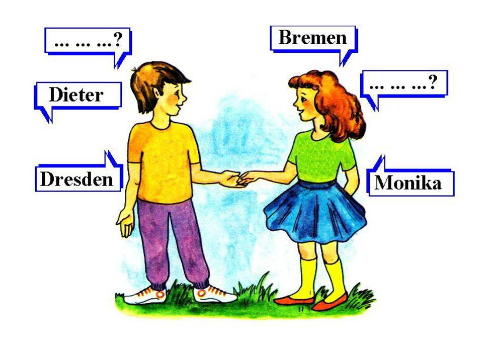 Übung 5. Расскажи, как эти дети узнавали друг у друга, где они живут. Wo wohnst du? — Где ты живёшь? Ich wohne in Berlin. — Я живу в Берлине.