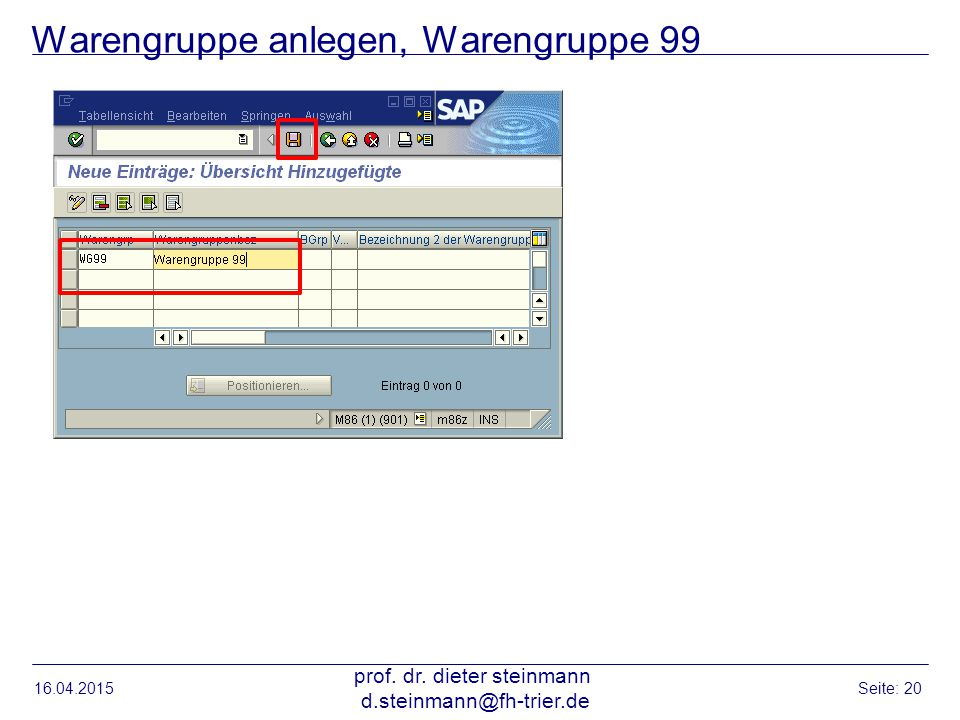 Warengruppe anlegen, Warengruppe 99 16.04.2015 prof.