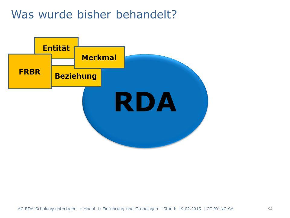 Was wurde bisher behandelt? 34 RDA Entität Beziehung Merkmal FRBR AG RDA Schulungsunterlagen – Modul 1: Einführung und Grundlagen | Stand: 19.02.2015