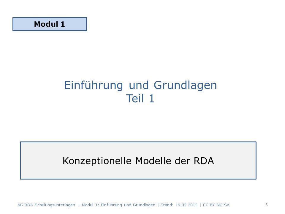 "Grundlagenmodelle des Standards RDA Statement of International Cataloguing Principles (2009) Familie der ""Functional Requirements for Bibliographic Records (FRBR) (1998, 2008) for Authority Data (FRAD) (2009) for Subject Authority Data (FRSAD) (2010) AG RDA Schulungsunterlagen – Modul 1: Einführung und Grundlagen | Stand: 19.02.2015 | CC BY-NC-SA 6"