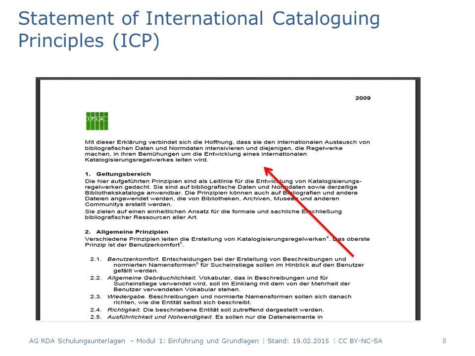 Benutzerkomfort Allgemeine Gebräuchlichkeit Wiedergabe Richtigkeit Ausführlichkeit und Notwendigkeit Bedeutung Ökonomie Konsistenz und Standardisierung Integration AG RDA Schulungsunterlagen – Modul 1: Einführung und Grundlagen | Stand: 19.02.2015 | CC BY-NC-SA 9 Statement of International Cataloguing Principles (ICP)