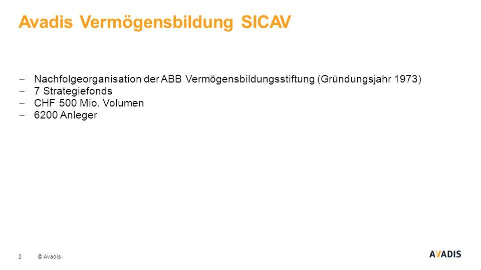 © Avadis Avadis Vermögensbildung SICAV 2  Nachfolgeorganisation der ABB Vermögensbildungsstiftung (Gründungsjahr 1973)  7 Strategiefonds  CHF 500 M