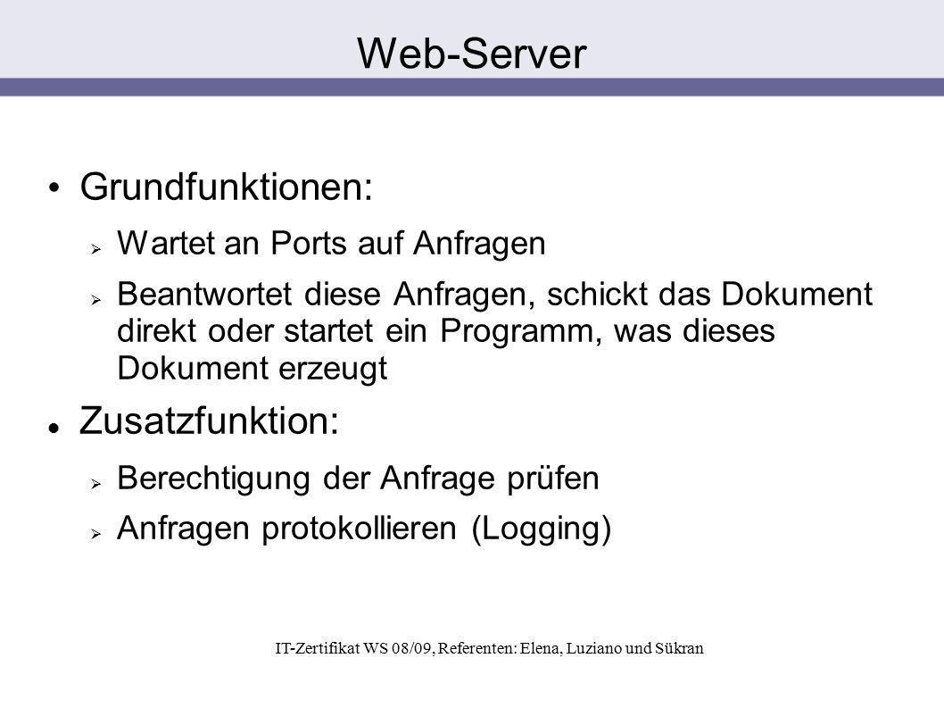 IT-Zertifikat WS 08/09, Referenten: Elena, Luziano und Sükran Grundfunktionen:  Wartet an Ports auf Anfragen  Beantwortet diese Anfragen, schickt da