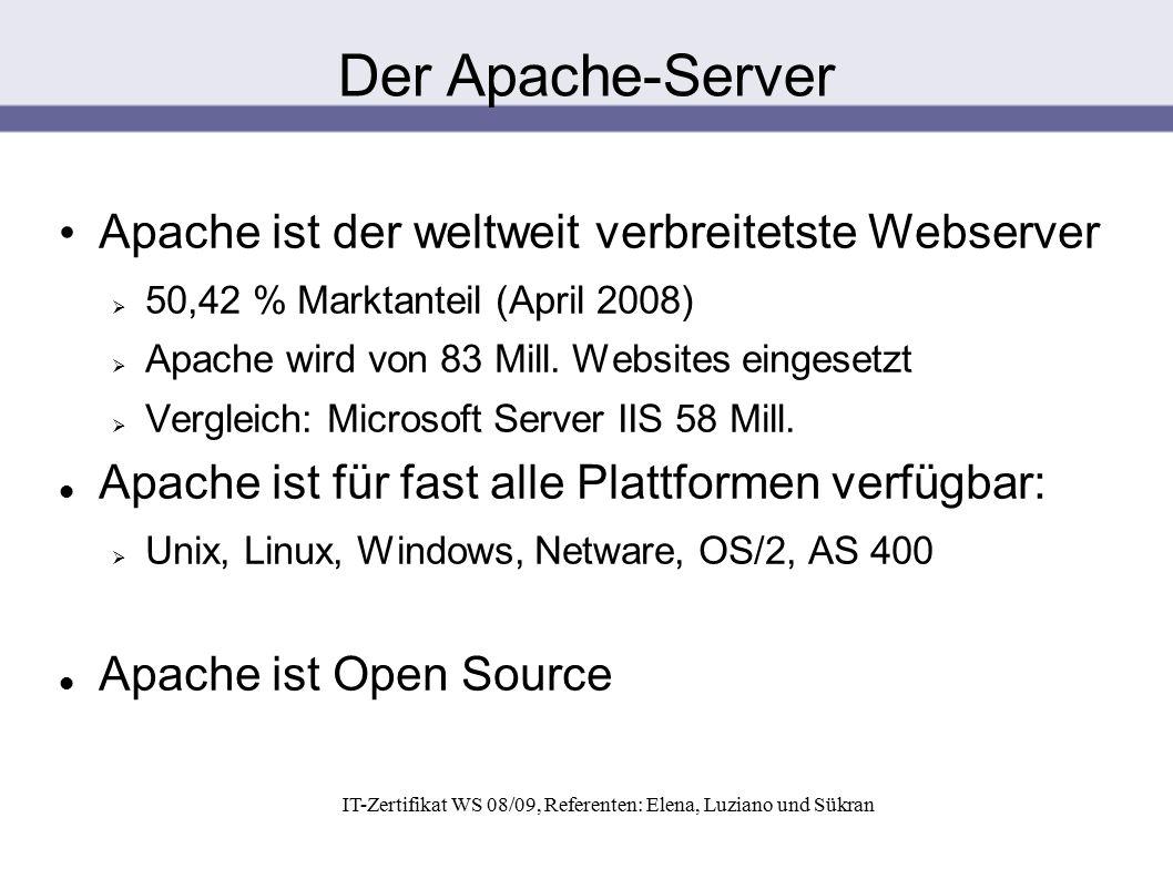 IT-Zertifikat WS 08/09, Referenten: Elena, Luziano und Sükran Apache ist der weltweit verbreitetste Webserver  50,42 % Marktanteil (April 2008)  Apa