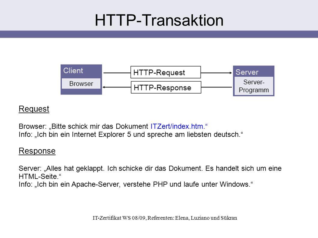 """IT-Zertifikat WS 08/09, Referenten: Elena, Luziano und Sükran Request Browser: """"Bitte schick mir das Dokument ITZert/index.htm."""" Info: """"Ich bin ein In"""