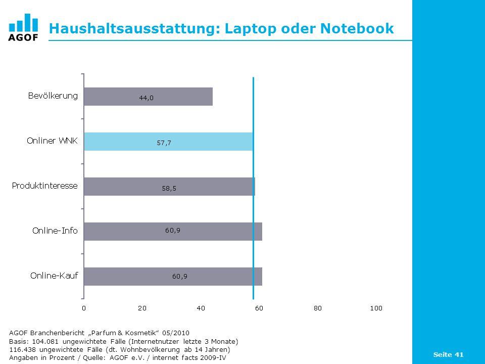 Seite 41 Haushaltsausstattung: Laptop oder Notebook Basis: 104.081 ungewichtete Fälle (Internetnutzer letzte 3 Monate) 116.438 ungewichtete Fälle (dt.