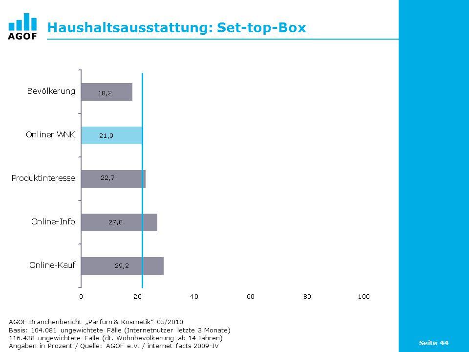 Seite 44 Haushaltsausstattung: Set-top-Box Basis: 104.081 ungewichtete Fälle (Internetnutzer letzte 3 Monate) 116.438 ungewichtete Fälle (dt. Wohnbevö