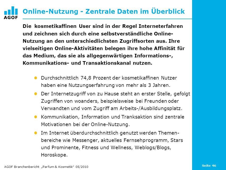 Seite 46 Online-Nutzung - Zentrale Daten im Überblick Die kosmetikaffinen User sind in der Regel Interneterfahren und zeichnen sich durch eine selbstv