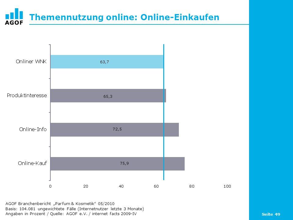 Seite 49 Themennutzung online: Online-Einkaufen Basis: 104.081 ungewichtete Fälle (Internetnutzer letzte 3 Monate) Angaben in Prozent / Quelle: AGOF e