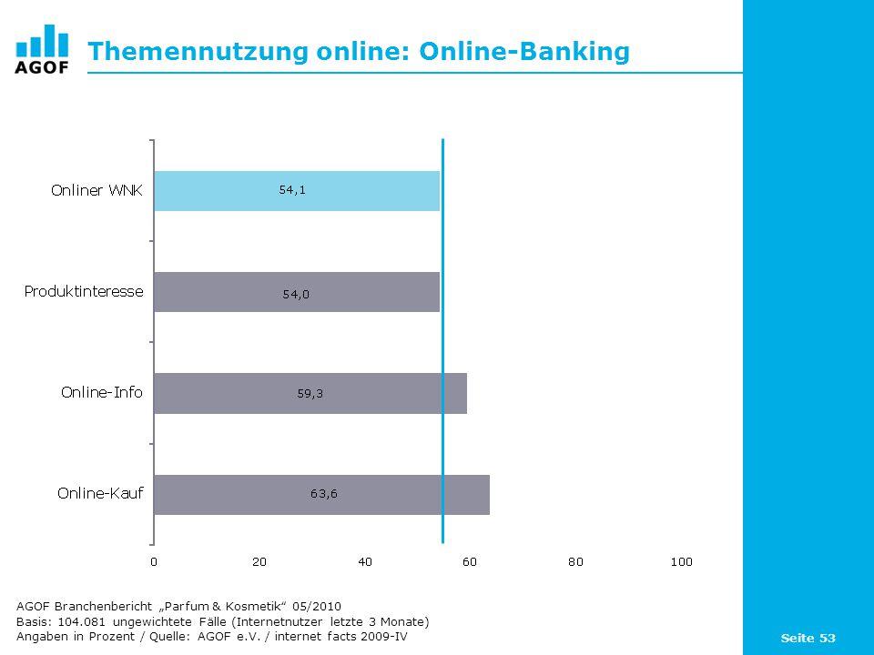 Seite 53 Themennutzung online: Online-Banking Basis: 104.081 ungewichtete Fälle (Internetnutzer letzte 3 Monate) Angaben in Prozent / Quelle: AGOF e.V