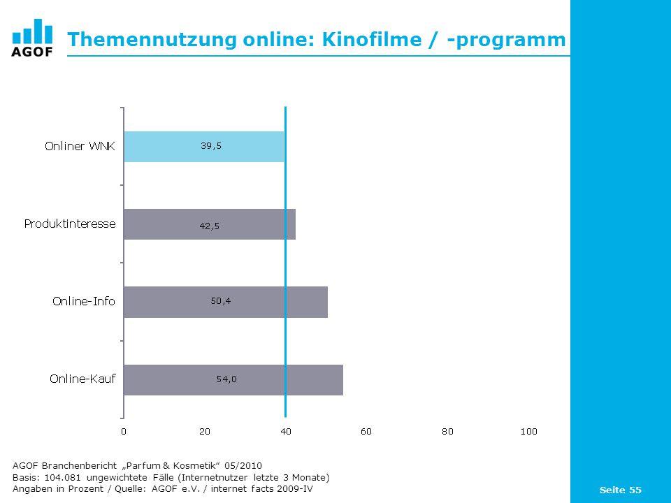 Seite 55 Themennutzung online: Kinofilme / -programm Basis: 104.081 ungewichtete Fälle (Internetnutzer letzte 3 Monate) Angaben in Prozent / Quelle: A
