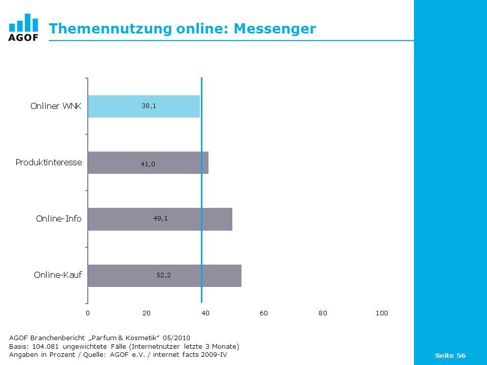 Seite 56 Themennutzung online: Messenger Basis: 104.081 ungewichtete Fälle (Internetnutzer letzte 3 Monate) Angaben in Prozent / Quelle: AGOF e.V. / i