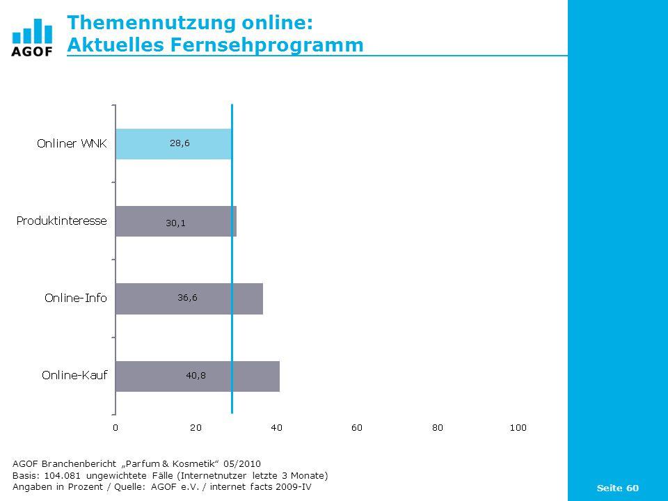 Seite 60 Themennutzung online: Aktuelles Fernsehprogramm Basis: 104.081 ungewichtete Fälle (Internetnutzer letzte 3 Monate) Angaben in Prozent / Quell
