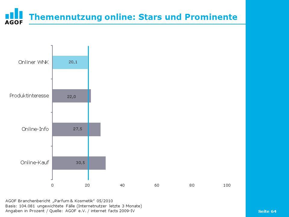 Seite 64 Themennutzung online: Stars und Prominente Basis: 104.081 ungewichtete Fälle (Internetnutzer letzte 3 Monate) Angaben in Prozent / Quelle: AG