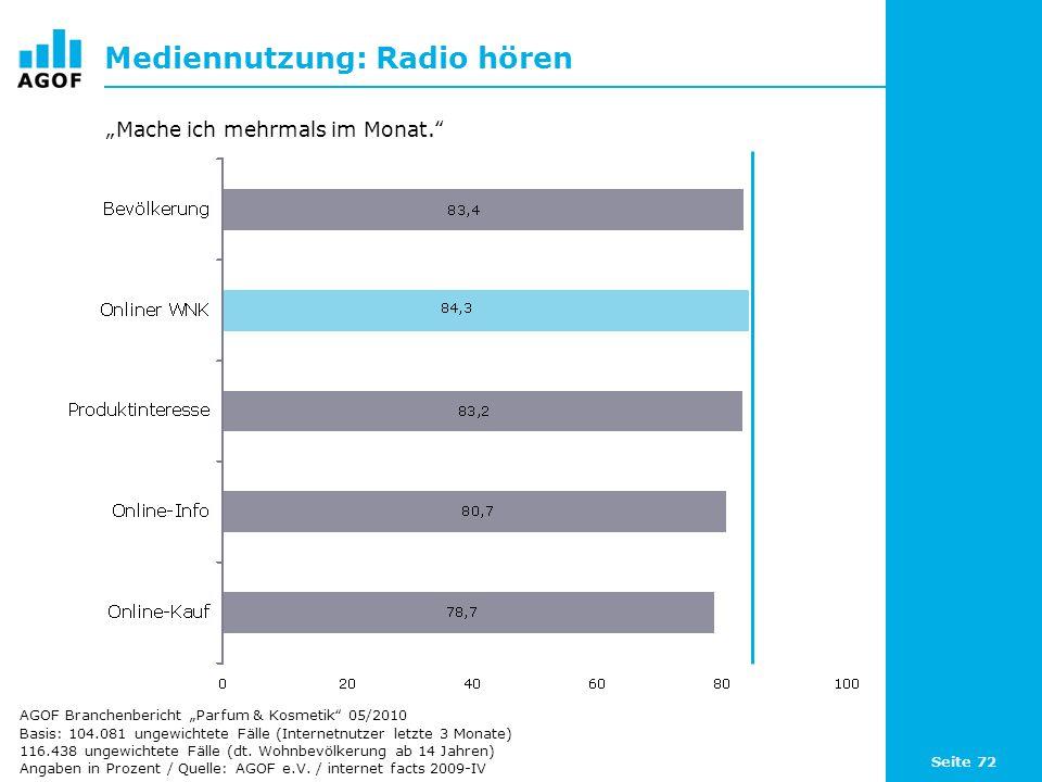 Seite 72 Mediennutzung: Radio hören Basis: 104.081 ungewichtete Fälle (Internetnutzer letzte 3 Monate) 116.438 ungewichtete Fälle (dt. Wohnbevölkerung
