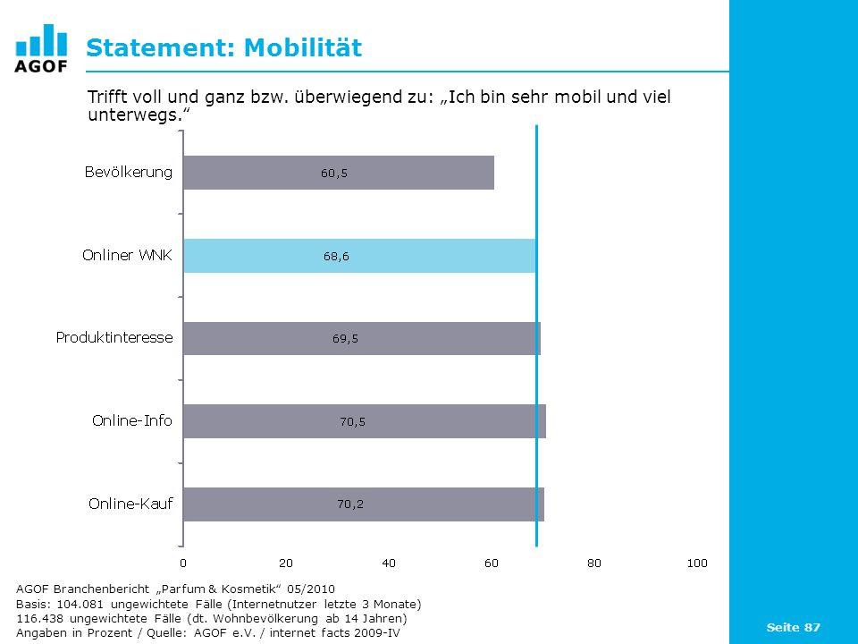 Seite 87 Statement: Mobilität Basis: 104.081 ungewichtete Fälle (Internetnutzer letzte 3 Monate) 116.438 ungewichtete Fälle (dt. Wohnbevölkerung ab 14