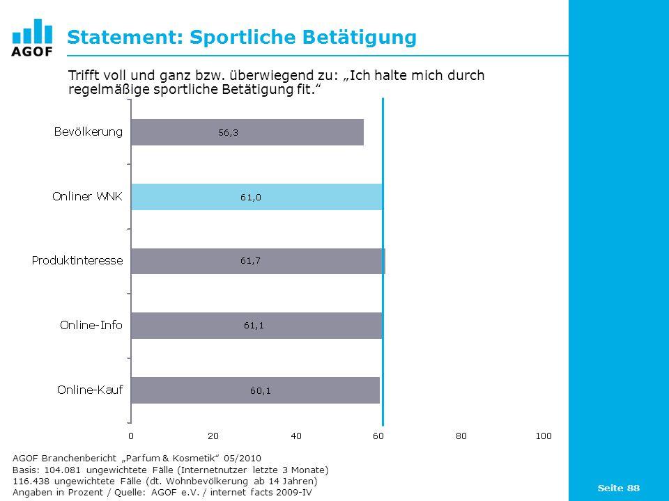 Seite 88 Statement: Sportliche Betätigung Basis: 104.081 ungewichtete Fälle (Internetnutzer letzte 3 Monate) 116.438 ungewichtete Fälle (dt. Wohnbevöl