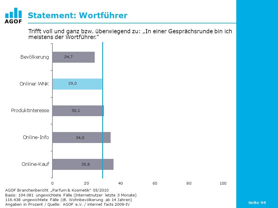 Seite 94 Statement: Wortführer Basis: 104.081 ungewichtete Fälle (Internetnutzer letzte 3 Monate) 116.438 ungewichtete Fälle (dt. Wohnbevölkerung ab 1