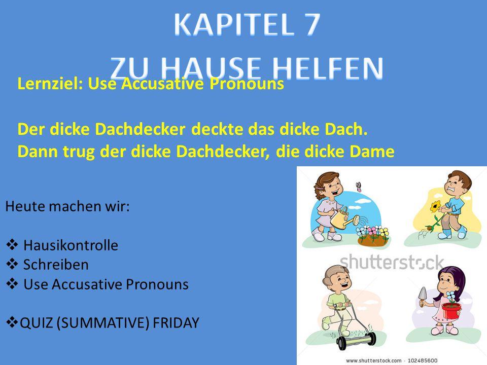 Heute machen wir:  Hausikontrolle  Schreiben  Use Accusative Pronouns  QUIZ (SUMMATIVE) FRIDAY Lernziel: Use Accusative Pronouns Der dicke Dachdec