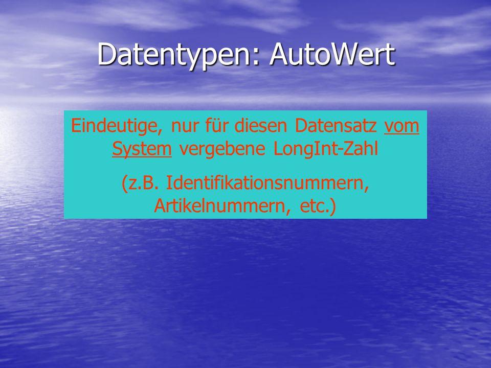 Datentypen: AutoWert Eindeutige, nur für diesen Datensatz vom System vergebene LongInt-Zahl (z.B. Identifikationsnummern, Artikelnummern, etc.)