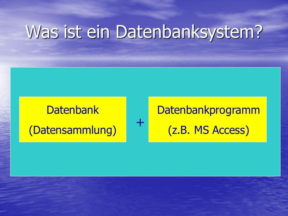 Was ist ein Datenbanksystem? Datenbank (Datensammlung) Datenbankprogramm (z.B. MS Access) +