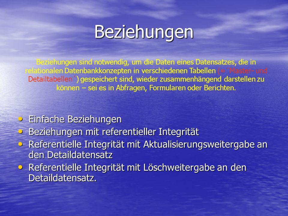 Beziehungen Einfache Beziehungen Einfache Beziehungen Beziehungen mit referentieller Integrität Beziehungen mit referentieller Integrität Referentiell