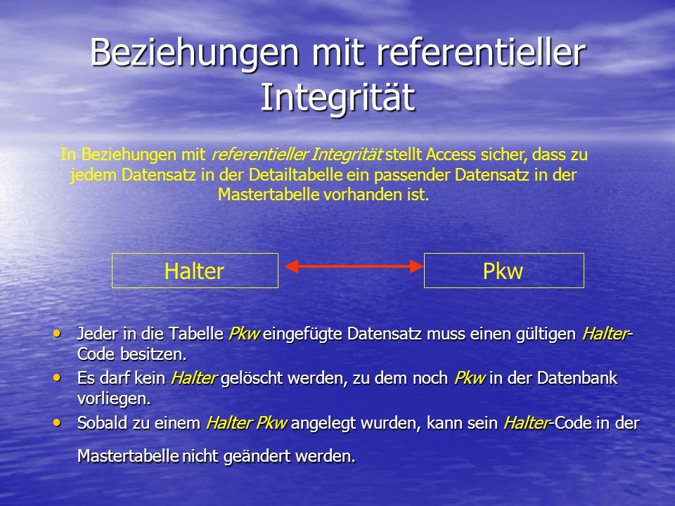Beziehungen mit referentieller Integrität Jeder in die Tabelle Pkw eingefügte Datensatz muss einen gültigen Halter- Code besitzen. Jeder in die Tabell